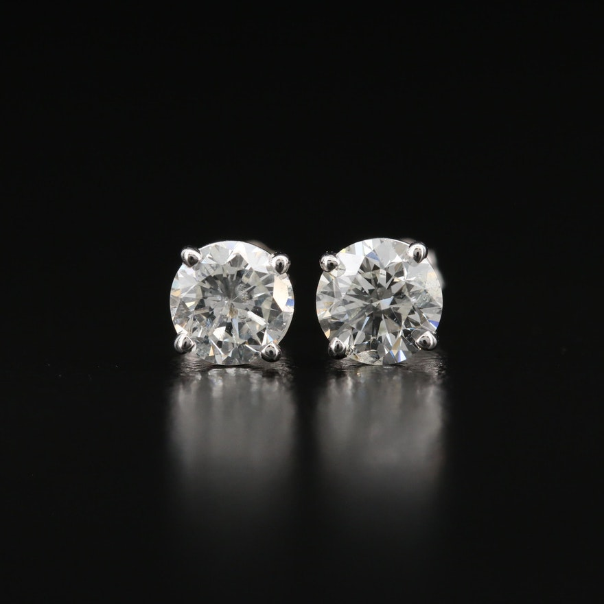 14K 1.28 CTW Diamond Stud Earrings with GIA Online Reports