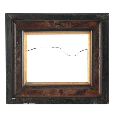 Rectangular Beveled Wooden Wall Frame with Floral Pattern
