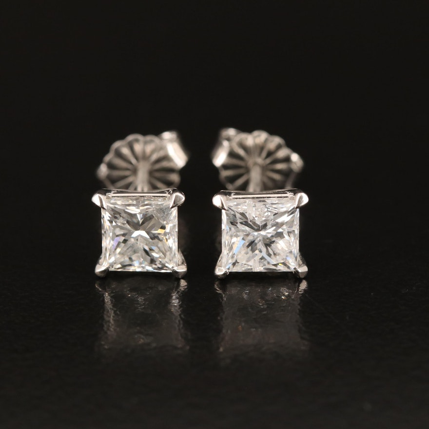 Platinum 1.98 CTW Diamond Stud Earrings with GIA Online Reports