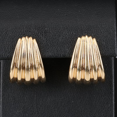 14K Fluted J-Hoop Earrings