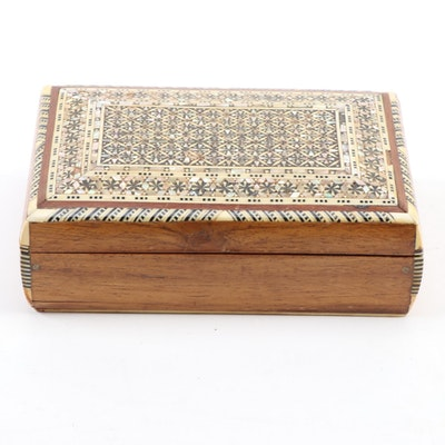 Persian Khatam Bone and Abalone Mosaic Inlay Wooden Box, 20th Century