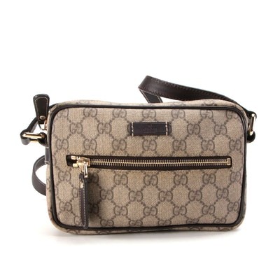 Gucci Camera Bag in GG Supreme Canvas and Brown Leather Trim