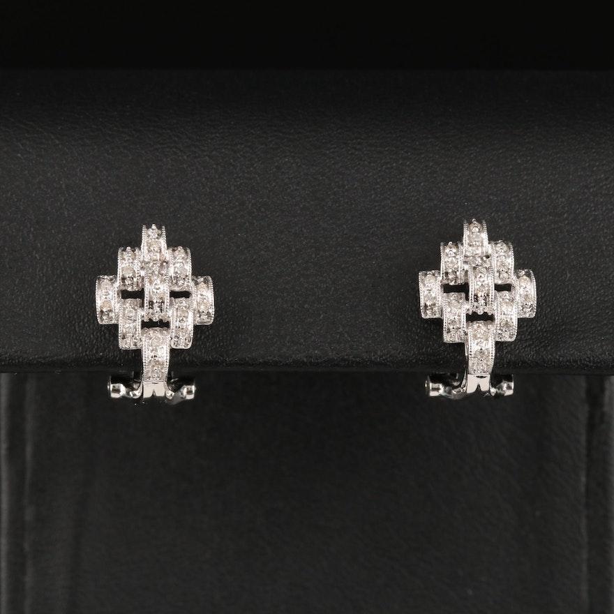 14K Diamond Earrings with Milgrain Detail