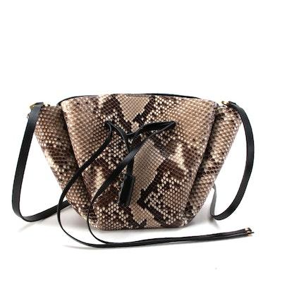 Valentino Vlogo Python Skin and Black Leather Bucket Bag
