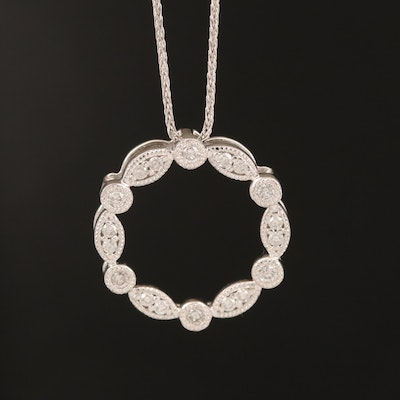 14K Diamond Circle Pendant on Italian 10K Chain