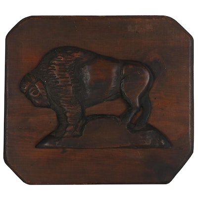 Carved Wood Bison Form Plaque, Mid to Late 20th Century