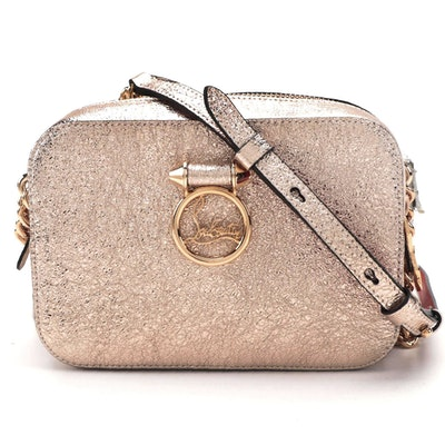Christian Louboutin Rubylou Mini Crossbody Bag in Metallic Rose Gold Leather