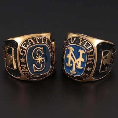 Enameled Brass New York Mets and Seattle Mariners MLB Ring Paperweights