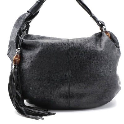 Gucci Bamboo Jungle Tassel Black Grained Leather Hobo Bag