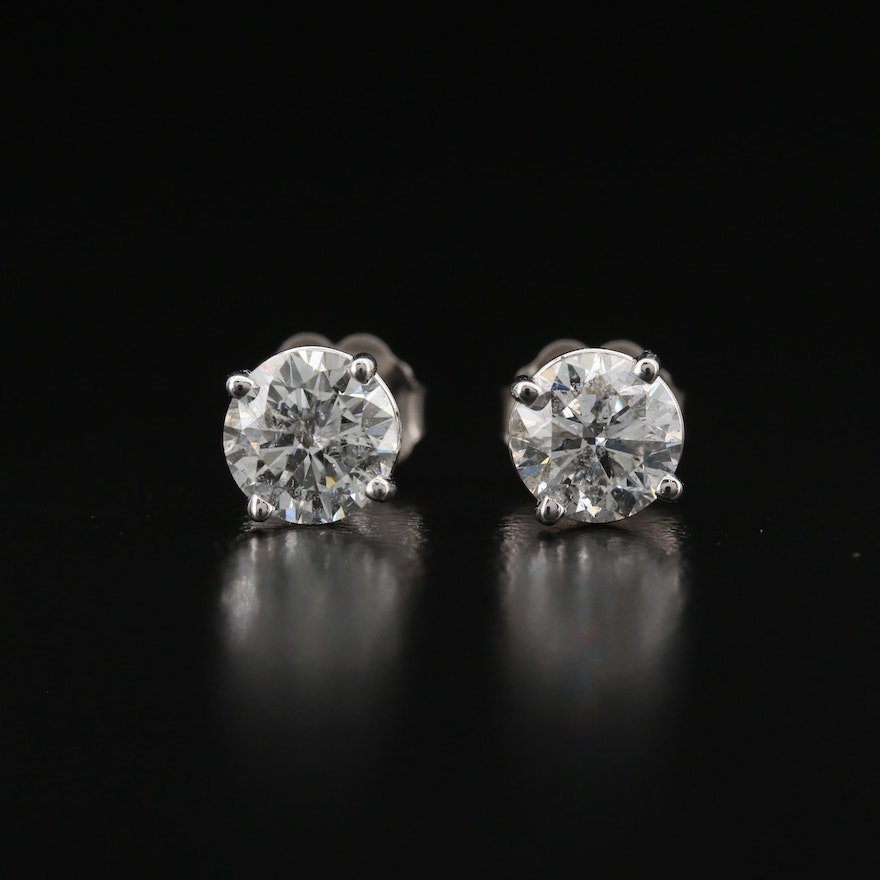18K 1.45 CTW Diamond Stud Earrings with GIA Online Reports