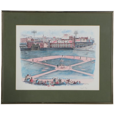 "Floyd Berg Offset Lithograph ""Crosley Field"""
