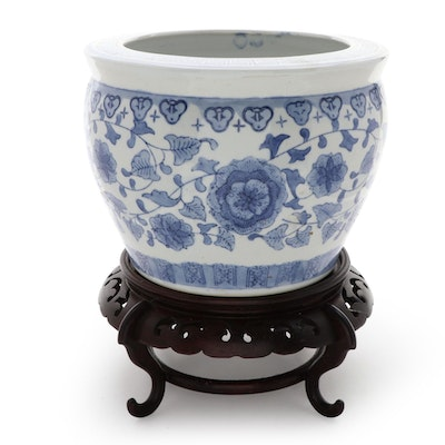 Chinese Blue and White Ceramic Planter on Wood Stand
