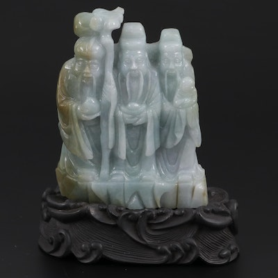 Chinese Carved Jadeite Fortune Deities Figurine with Composite Stand