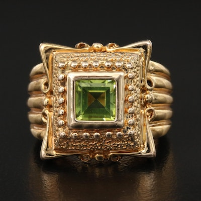Sterling Peridot Ring with Fluted Shoulders