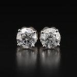 18K 1.41 CTW Diamond Stud Earrings with GIA eReports