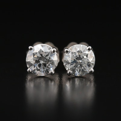 18K 1.41 CTW Diamond Stud Earrings with GIA eReports
