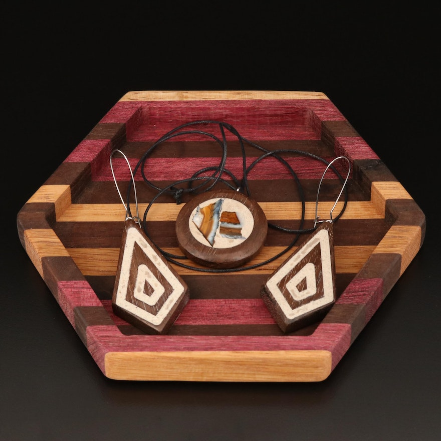 Fossilized Mammoth Tooth, Epoxy and Wood Necklace, Earrings, and Tray