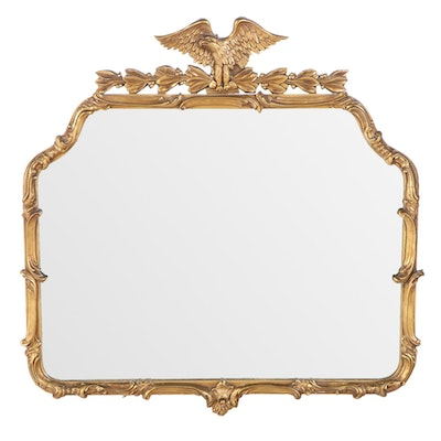 Federal Style Giltwood and Composition Overmantel Mirror, Mid-20th Century