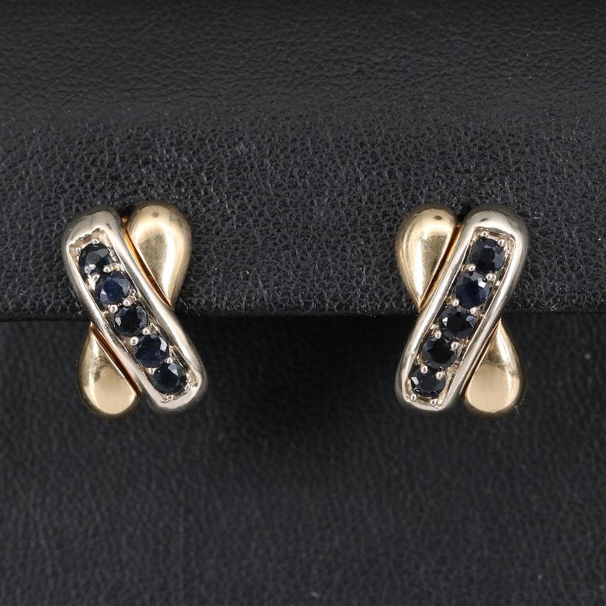 14K Two Tone Sapphire Crossover Earrings