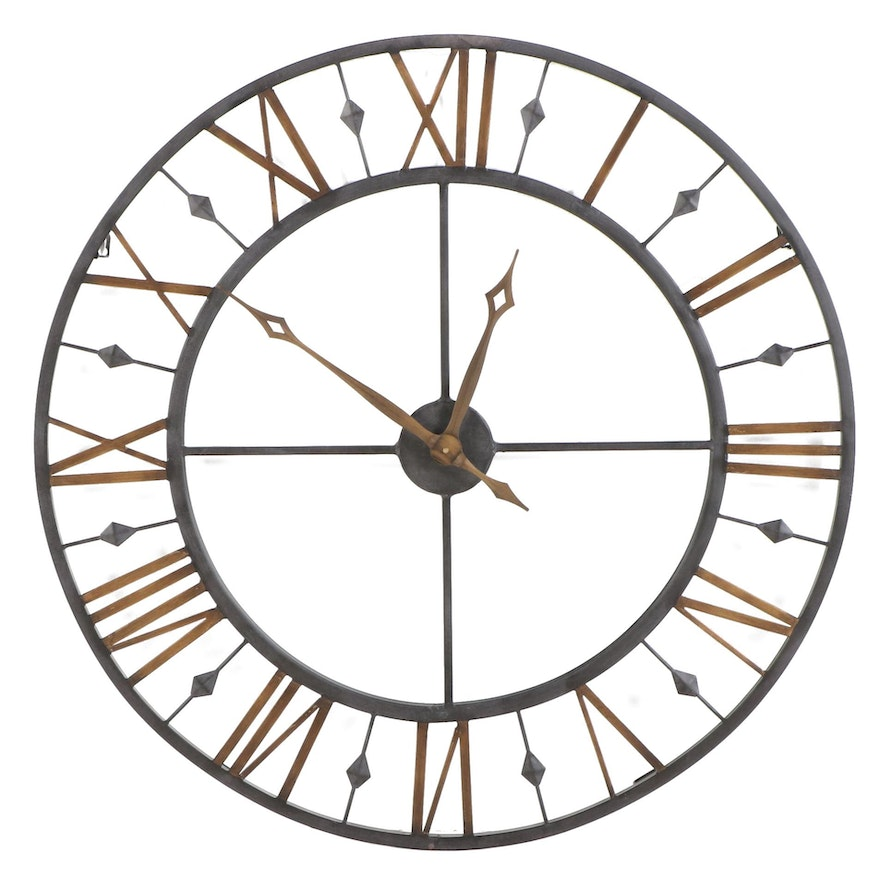 Industrial Style Black and Gold Painted Metal Wall Clock