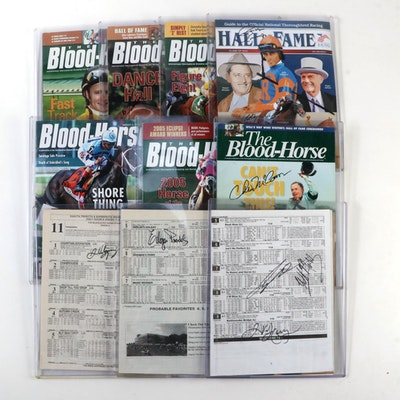 """Jockey Signed """"The Blood-Horse"""" Magazines and Racing Programs"""