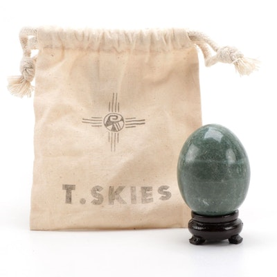 Polished Jasper Stone Egg on Carved Wood Base