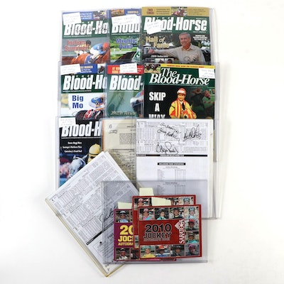 """Jerry Bailey and Others Signed """"The Blood-Horse"""" Magazines and Racing Programs"""