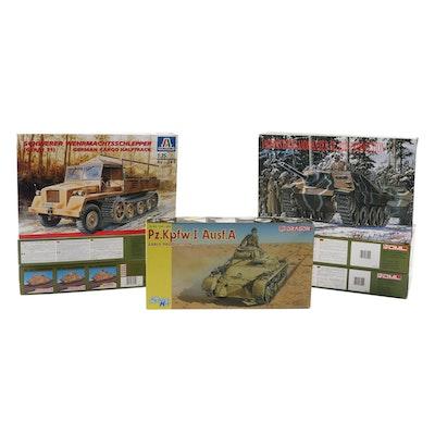 DML, Dragon, and Italeri Unassembled WWII German Military Vehicle Model Kits