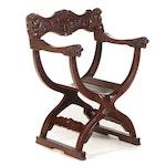 Renaissance Style Carved Mahogany Savonarola Chair, 20th Century
