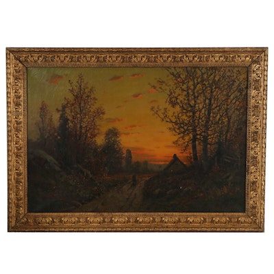 Luminist Style Landscape Oil Painting of Evening Sunset, circa 1900
