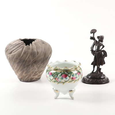 Studio Pottery Vase with Bronze Dancing Girl Figurine and Footed Porcelain Vase