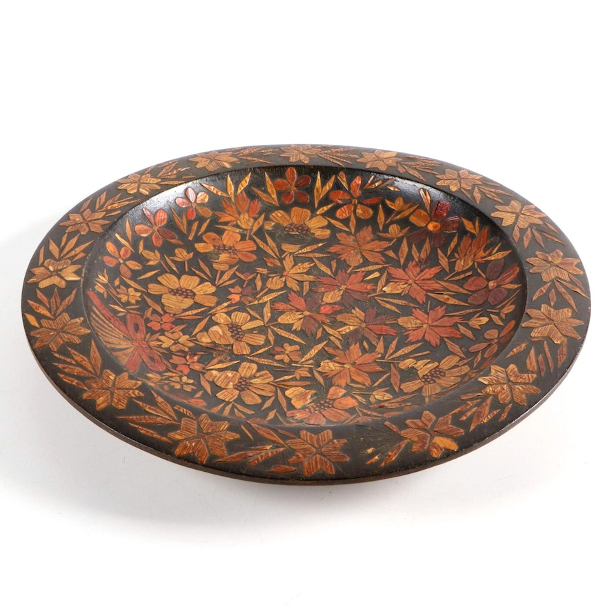 Tramp Art Wooden Matchstick Bowl Floral Motif, Early 20th Century
