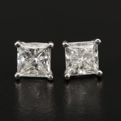 Platinum 1.96 CTW Diamond Stud Earrings with GIA Dossier and Online Report
