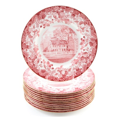 "Wedgwood ""Harvard University"" Bone China Dinner Plates, Mid-20th Century"