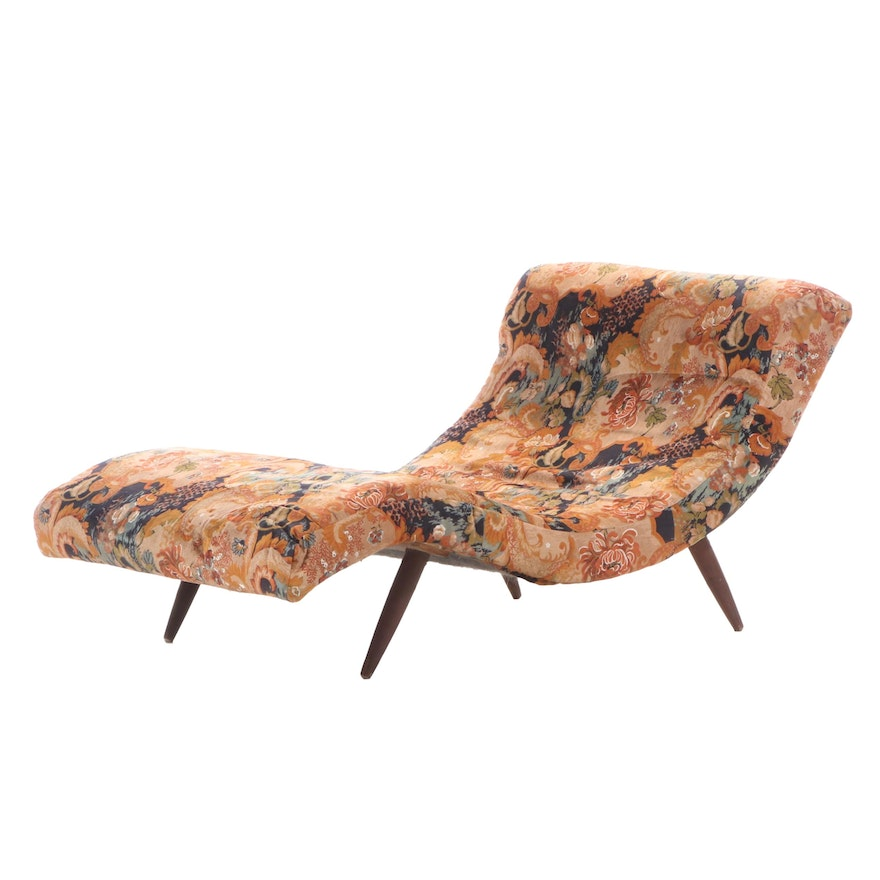 Modernist Custom-Upholstered Contoured Chaise Lounge, Mid to Late 20th Century