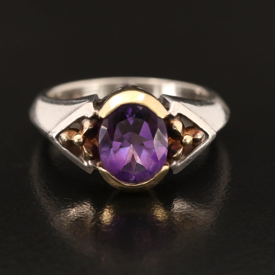 Sterling Amethyst Ring with 18K Accent