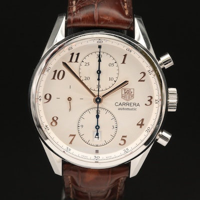 "TAG Heuer ""Carrera Heritage"" Stainless Steel Automatic Chronograph Wristwatch"
