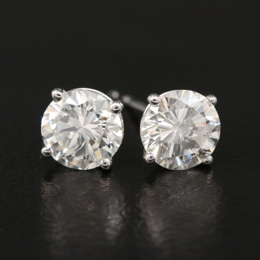 18K 1.79 CTW Diamond Stud Earrings with GIA Online Reports