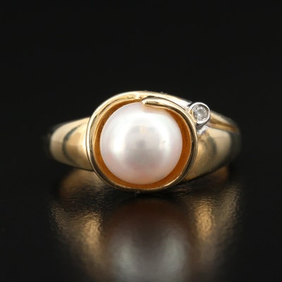 Contemporary 14K Pearl and Diamond Ring