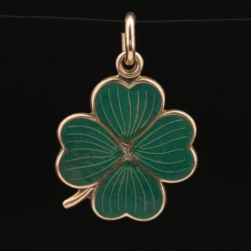 Vintage 14K Enamel Four Leaf Clover Charm