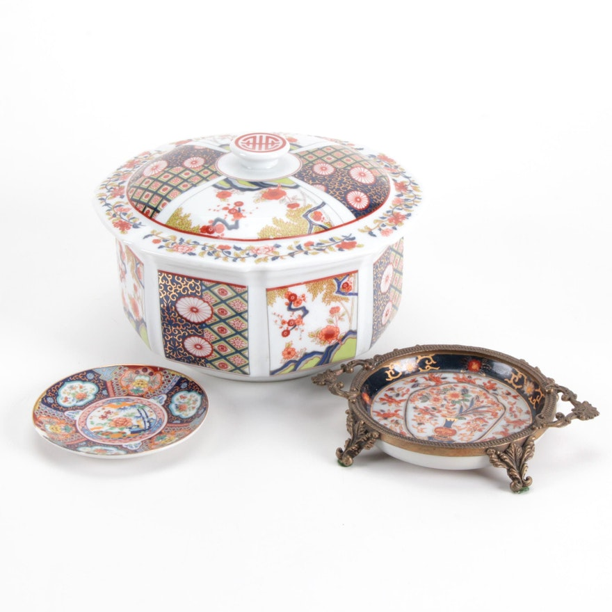 Chinese Taipei Imari Style Covered Bowl with Other Porcelain Trinket Dishes