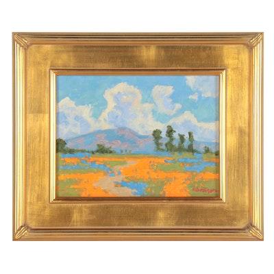 """Marc A. Graison Landscape Oil Painting """"Mountain Poppies,"""" 2021"""