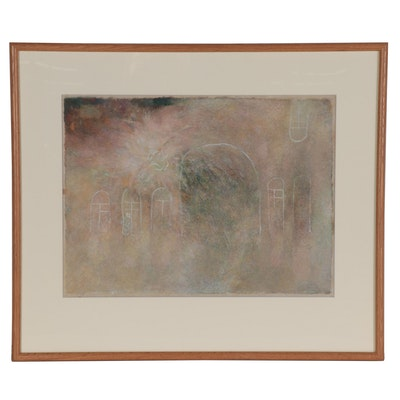 """Olga Schmuylovich Mixed Media Painting """"House,"""" 1979"""