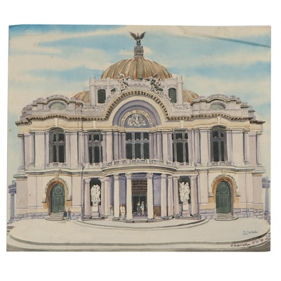 Raymond Zaplatar Watercolor Painting of The Palacio de Bellas Artes, 1978