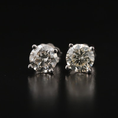 14K 1.26 CTW Diamond Stud Earrings with GIA eReports