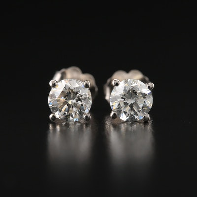 18K 1.40 CTW Diamond Stud Earrings with GIA Online Reports
