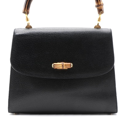 Gucci Bamboo Black Textured Leather Top Handle Bag