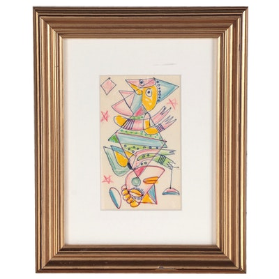 Mixed Media Drawing of Abstract Jesters, Late 20th Century