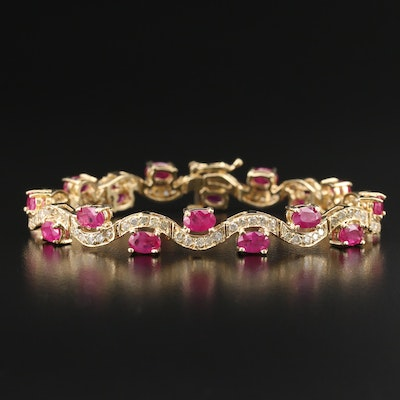 14K Ruby and 2.02 CTW Diamond Wave Bracelet