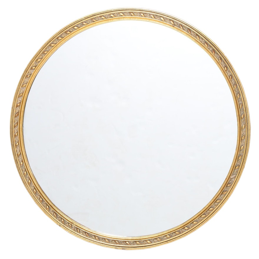 Round Giltwood and Composition Wall Mirror, 20th Century